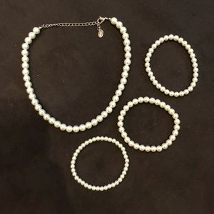 Jewelry - Faux Pearl Necklace and Bracelets